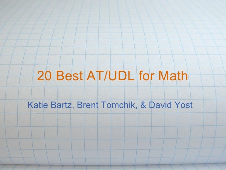 20 best AT/UDL for Mathematics