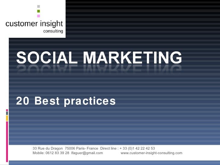 20 Best Practices  Social Marketing 28 08 09