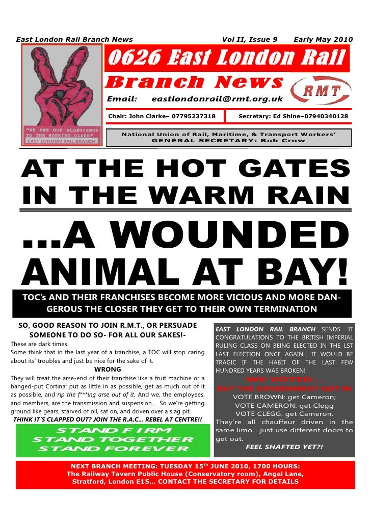 East London Rail Branch News                                               Vol II, Issue 9      Early May 2010            ...