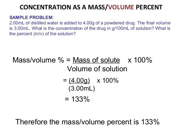 Solving concentration problems