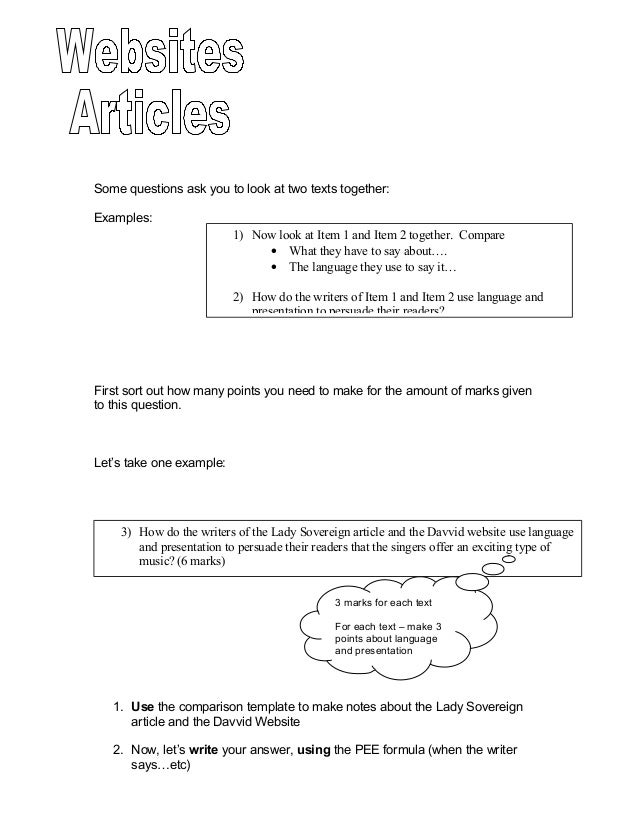 Some questions ask you to look at two texts together:Examples:                          1) Now look at Item 1 and Item 2 t...
