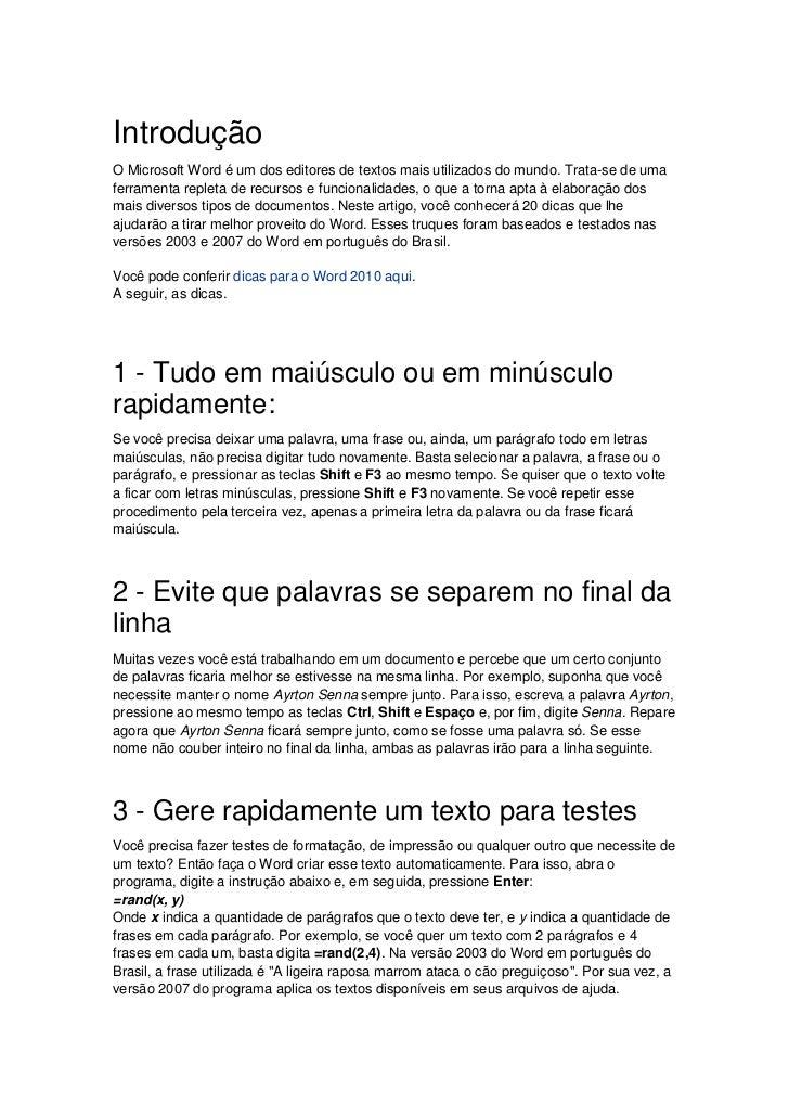 20 dicas legais do word