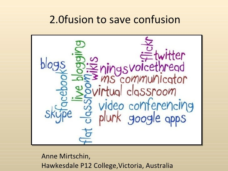 2.0fusion to save confusion Anne Mirtschin,  Hawkesdale P12 College,Victoria, Australia