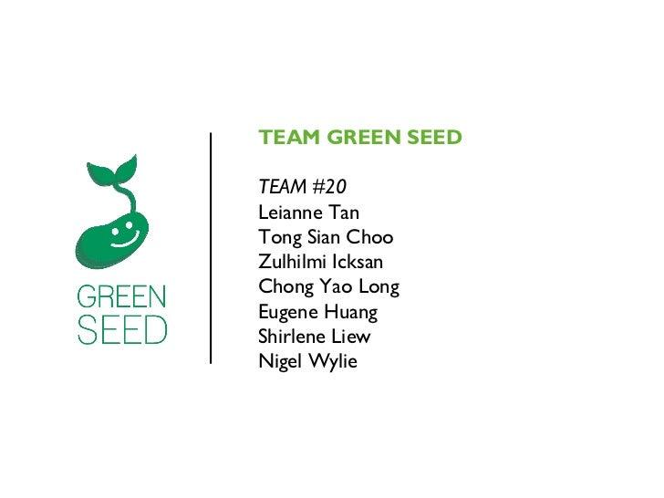 TEAM GREEN SEEDTEAM #20Leianne TanTong Sian ChooZulhilmi IcksanChong Yao LongEugene HuangShirlene LiewNigel Wylie