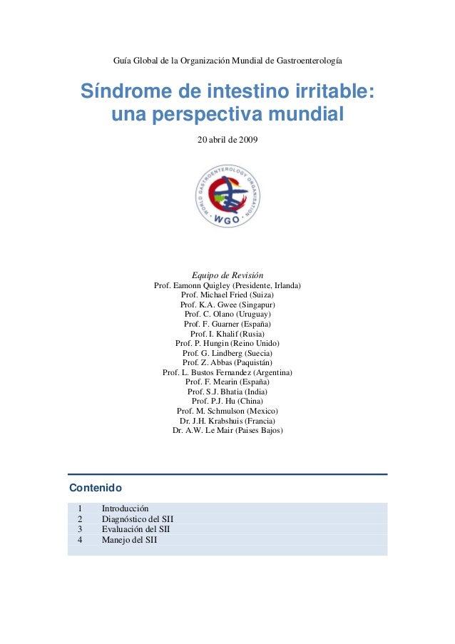 Guía Global de la Organización Mundial de Gastroenterología Síndrome de intestino irritable: una perspectiva mundial 20 ab...