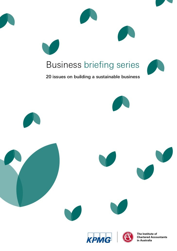 Business briefing series20 issues on building a sustainable business