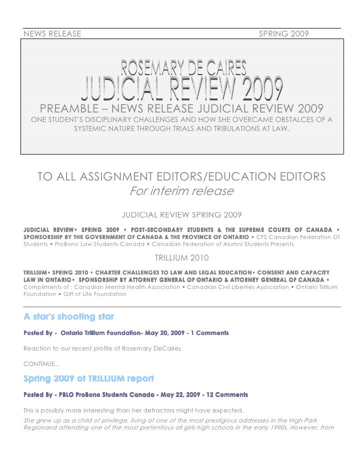NEWS RELEASE                                                                     SPRING 2009          PREAMBLE – NEWS RELE...