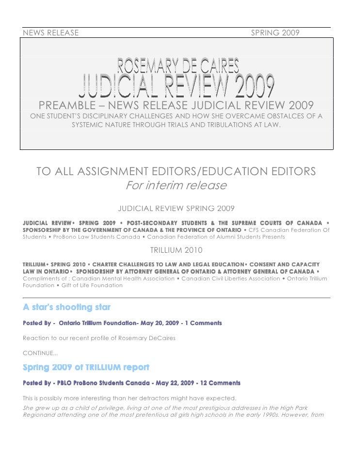 JUDICIAL REVIEW REPORT 2009 [Bulletin]