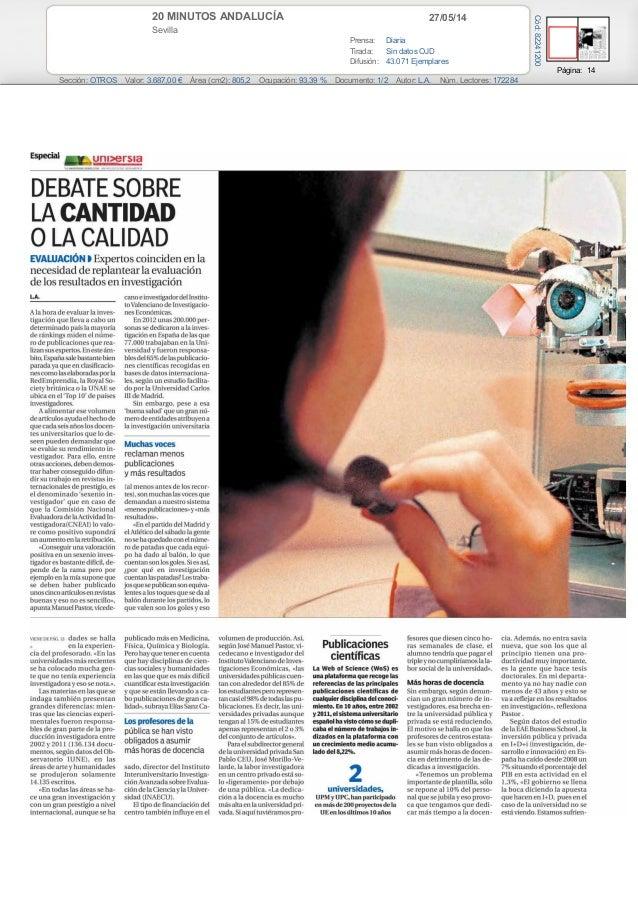 EAE BUSINESS SCHOOL, presenta el estudio de La inversión en I+D+i 2014 (20 minutos Andalucía)