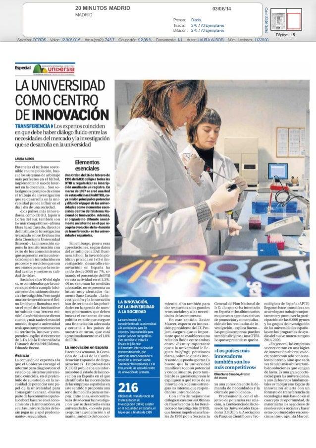 EAE BUSINESS SCHOOL presenta La Inversión Pública Y Privada en I+D+I en España. (20 Minutos Madrid)