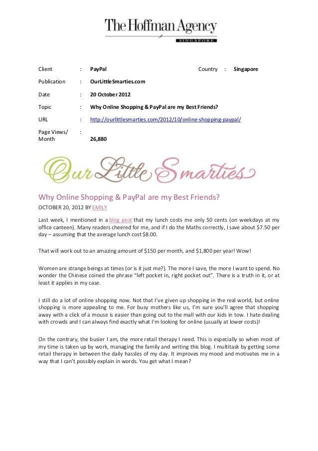 Client           :   PayPal                                        Country    :   SingaporePublication      :   OurLittleS...