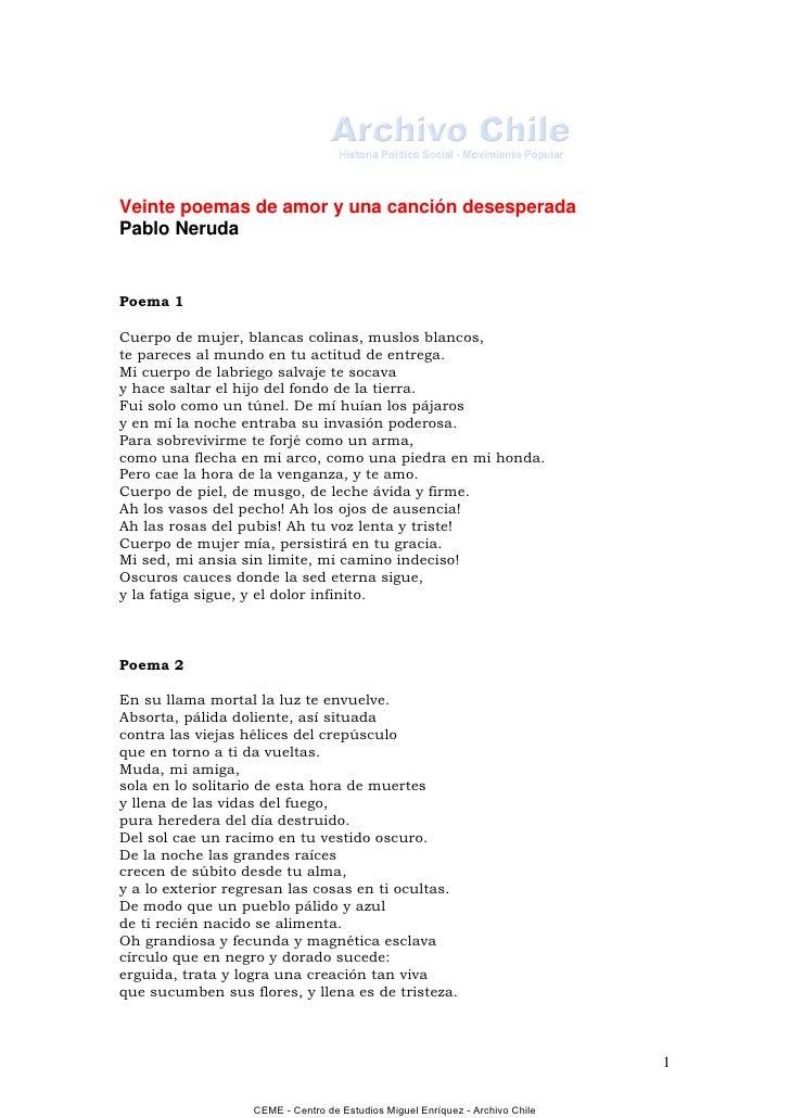 20 poemas de amor y 1 cancion desesperada