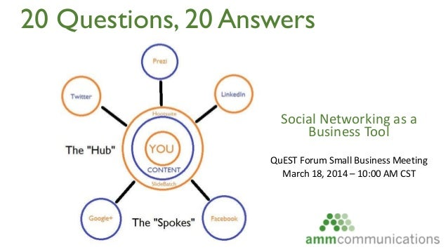20 Questions, 20 Answers Social Networking as a Business Tool QuEST Forum Small Business Meeting March 18, 2014 – 10:00 AM...