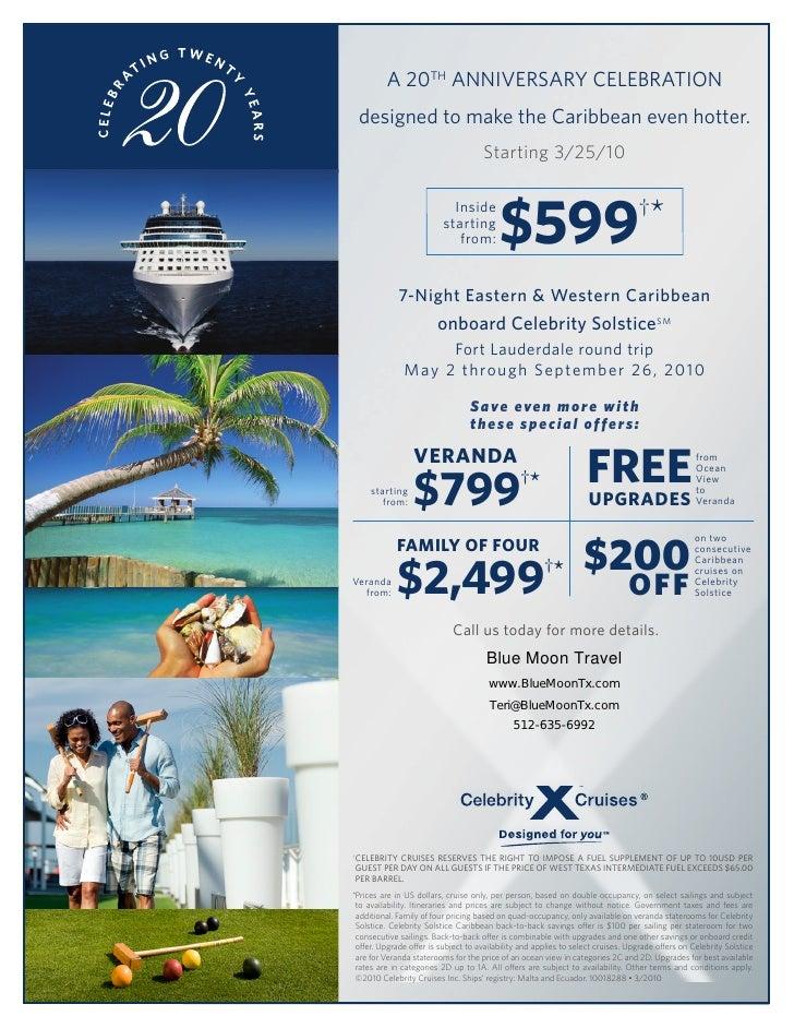 Celebrity Cruise 20th Anniversary Sale
