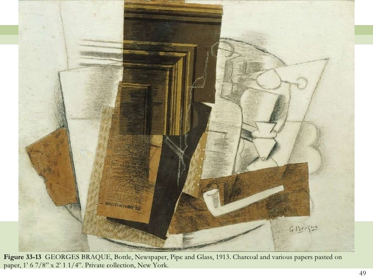 Braque Bottle Newspaper Pipe And Glass