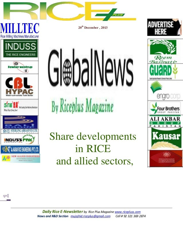 20th December , 2013  Share developments in RICE and allied sectors,  Daily Rice E-Newsletter by Rice Plus Magazine www.ri...