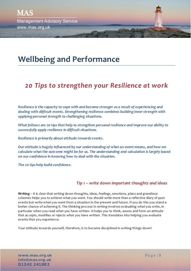 20 tips for resilience