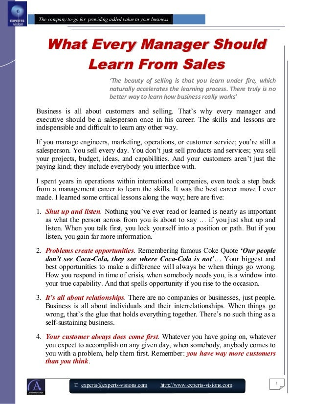 20 what every manager should learn  about sales