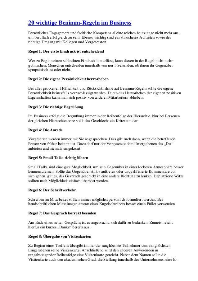 20 wichtige Benimm-Regeln im Business Persönliches Engagement und fachliche Kompetenz alleine reichen heutzutage nicht meh...
