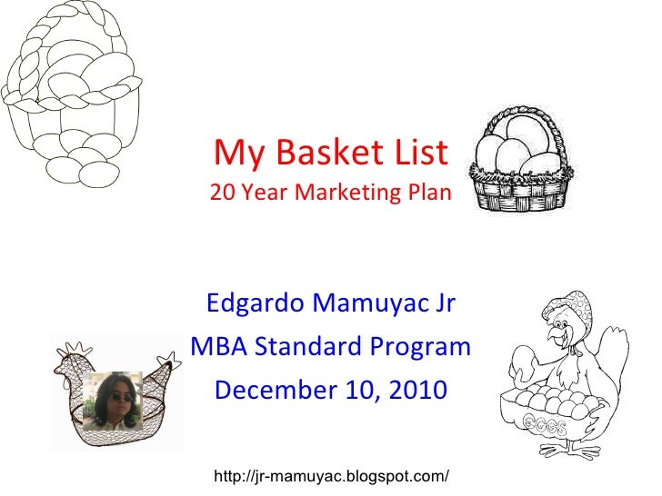 My Basket List 20 Year Marketing Plan Edgardo Mamuyac Jr MBA Standard Program December 10, 2010 http://jr-mamuyac.blogspot...