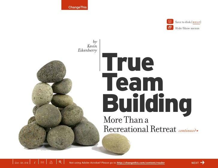 CHANGETHIS True Team Building: More Than a Recreational Retreat