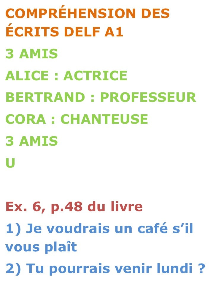 COMPRÉHENSION DESÉCRITS DELF A13 AMISALICE : ACTRICEBERTRAND : PROFESSEURCORA : CHANTEUSE3 AMISUEx. 6, p.48 du livre1) Je ...