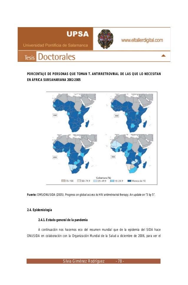 Silvia Giménez Rodríguez - 78 - PORCENTAJE DE PERSONAS QUE TOMAN T. ANTIRRETROVIRAL DE LAS QUE LO NECESITAN EN ÁFRICA SUBS...