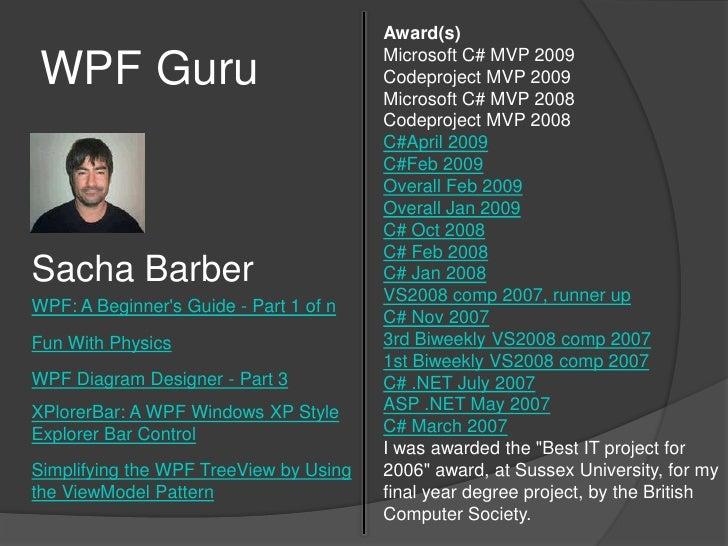 WPF Guru<br />Award(s)Microsoft C# MVP 2009<br />Codeproject MVP 2009<br />Microsoft C# MVP 2008<br />Codeproject MVP 2008...
