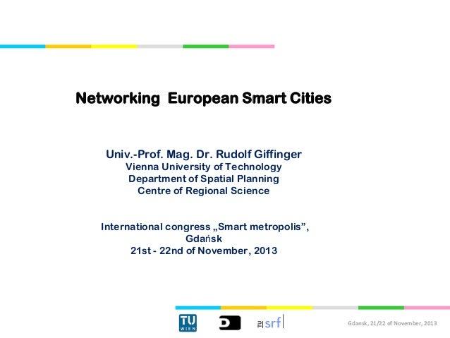 """prof. Rudolf Giffinger, Technische Universität Wien, """"Europejska sieć współpracy inteligentnych miast"""""""