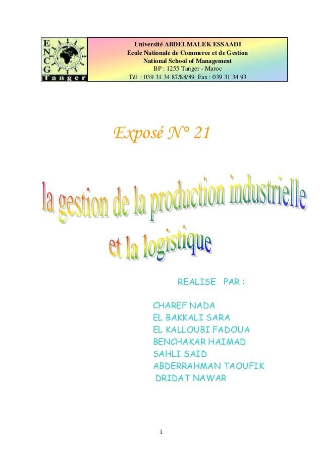 1 Exposé N° 21 REALISE PAR : CHAREF NADA EL BAKKALI SARA EL KALLOUBI FADOUA BENCHAKAR HAIMAD SAHLI SAID ABDERRAHMAN TAOUFI...