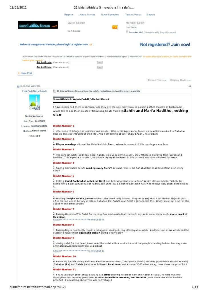 19/03/2011                                                      21 bidahs/bidats [innovations] in salafis…                ...