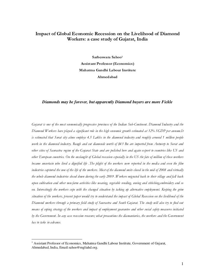 Impact of Global Economic Recession on the Livelihood of Diamond                  Workers: a case study of Gujarat, India ...