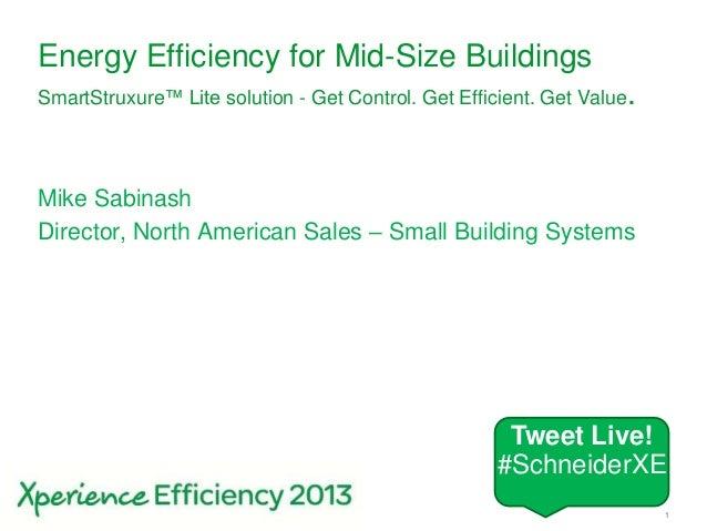 Schneider Electric 1- Small Building Systems – SmartStruxure Lite – 2013Energy Efficiency for Mid-Size BuildingsSmartStrux...