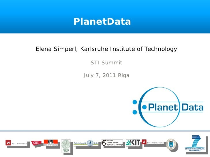 STI Summit 2011 - PlanetData