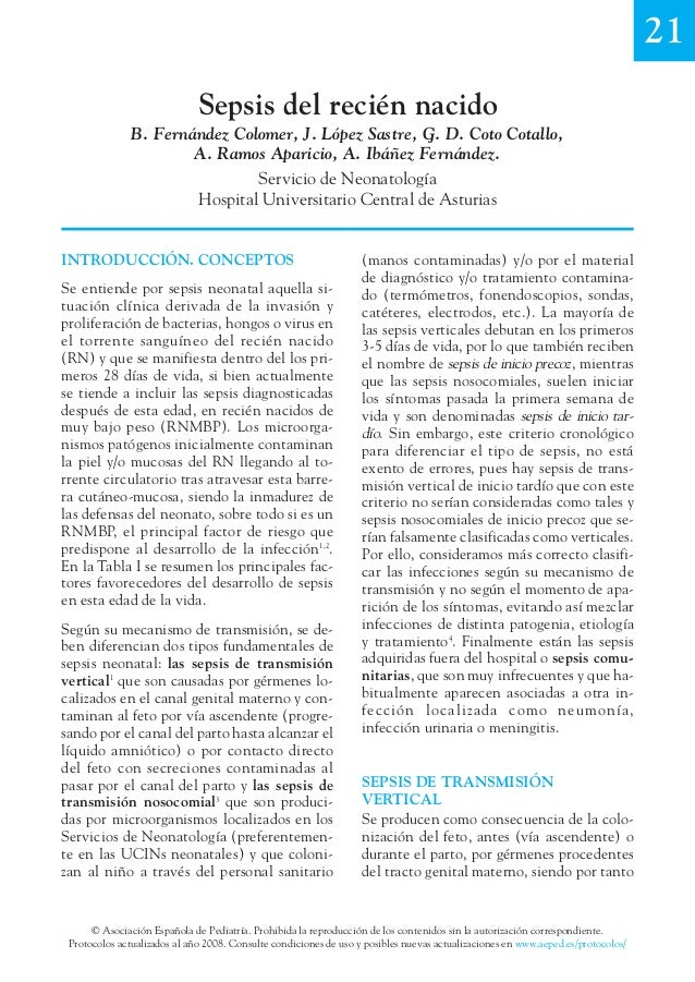 21 Sepsis del recién nacido B. Fernández Colomer, J. López Sastre, G. D. Coto Cotallo, A. Ramos Aparicio, A. Ibáñez Fernán...