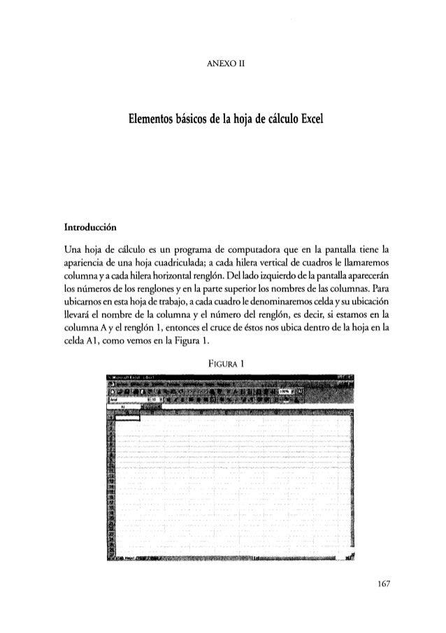 Estadística Elementos Básicos de la Hoja de Cálculo 012