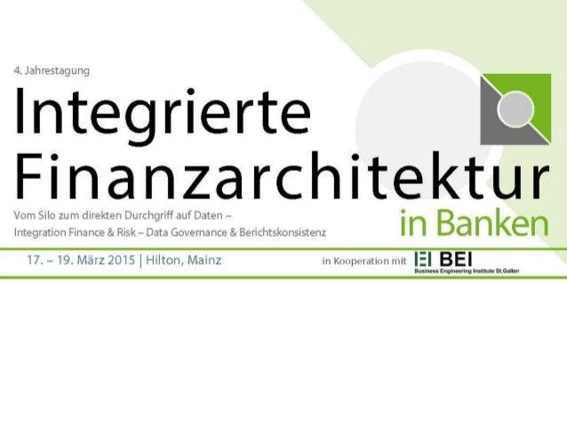 Dr. Tobias Volk ist Spezialist Gesamtbanksteuerung und  BCBS 239 bei der Deutsche Bundesbank und hat die folgende  Präsent...