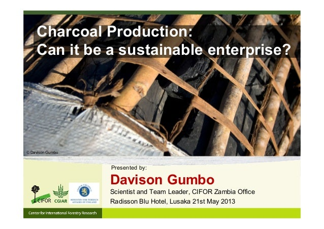 Charcoal Production:Can it be a sustainable enterprise?Radisson Blu Hotel, Lusaka 21st May 2013Davison GumboScientist and ...