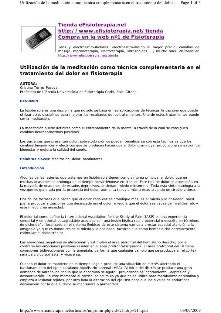 Utilización de la meditación como técnica complementaria en el tratamiento del dolor ... Page 1 of 3                      ...