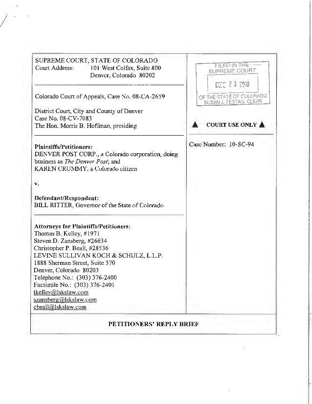 I SUPREME COURT, STATE OF COLORADO Court Address: 101 West Colfax, Suite 800 Denver, Colorado 80202 Colorado Court ofAppea...