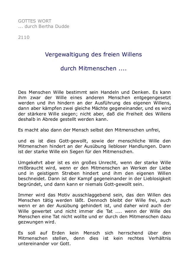 GOTTES WORT ... durch Bertha Dudde 2110 Vergewaltigung des freien Willens durch Mitmenschen .... Des Menschen Wille bestim...