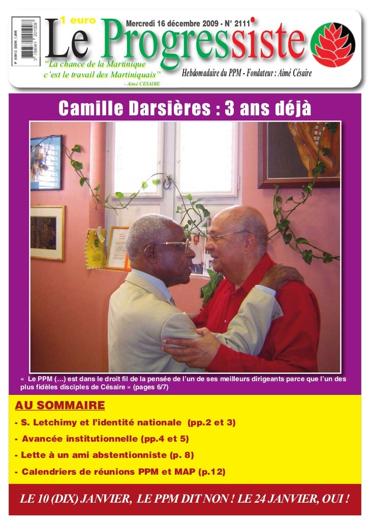 """1 euro        Le Progressiste                                  Mercredi 16 décembre 2009 - N° 2111        """"La chance de la..."""
