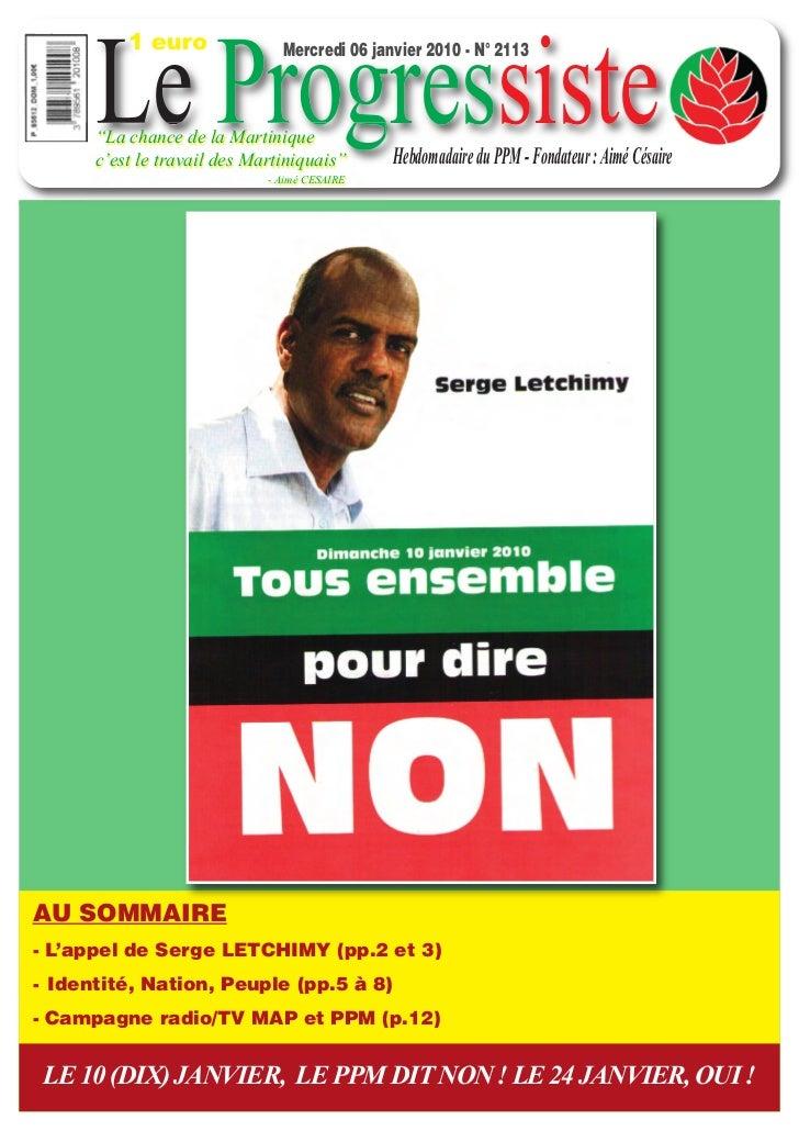 """1 euro      Le Progressiste                               Mercredi 06 janvier 2010 - N° 2113      """"La chance de la Martini..."""