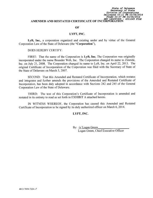 Lyft's State of Delaware Filing on funding etc.