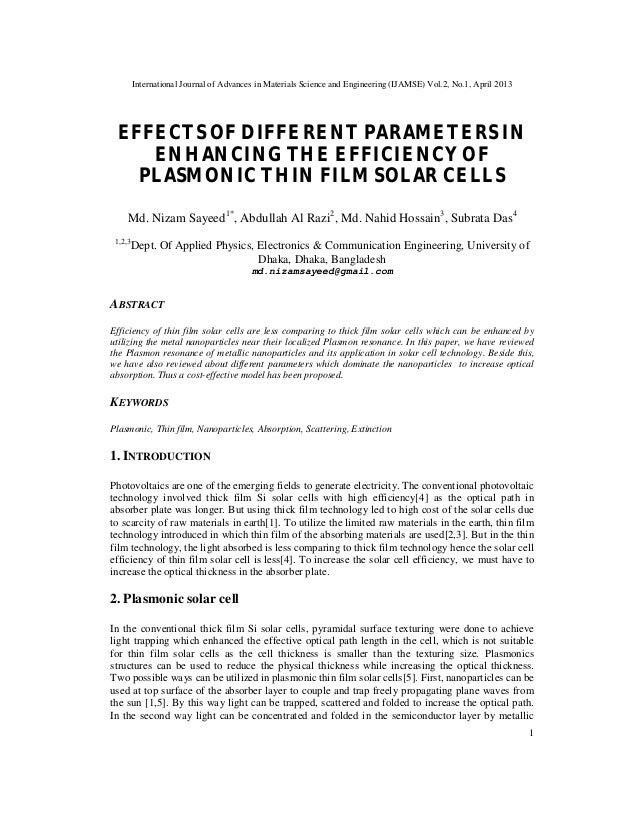 International Journal of Advances in Materials Science and Engineering (IJAMSE) Vol.2, No.1, April 20131EFFECTS OF DIFFERE...