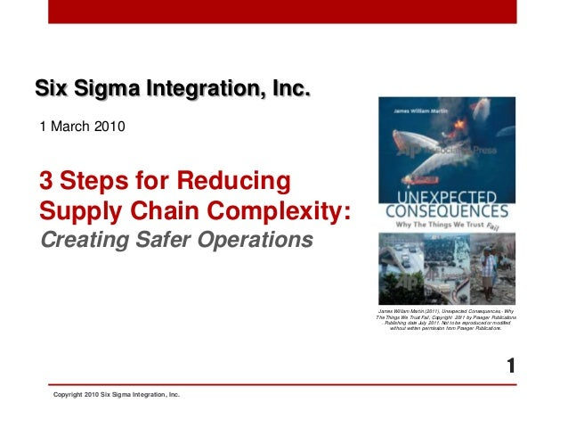 Six Sigma Integration, Inc.1 March 20103 Steps for ReducingSupply Chain Complexity:Creating Safer Operations              ...