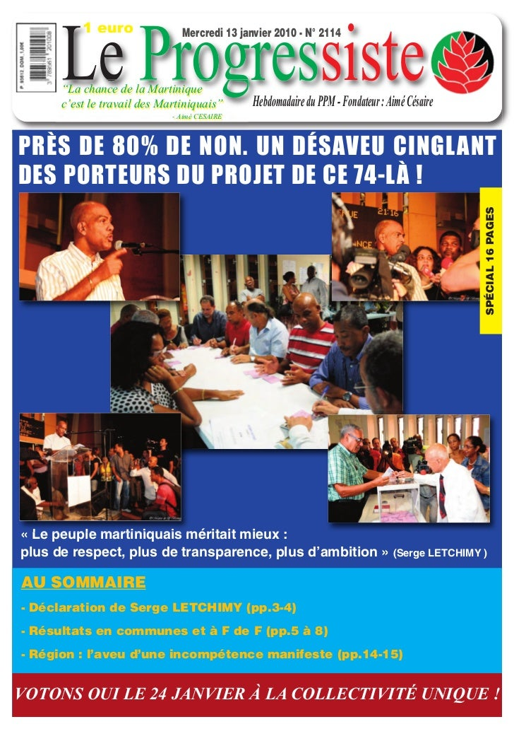 """1 euro      Le Progressiste                               Mercredi 13 janvier 2010 - N° 2114      """"La chance de la Martini..."""