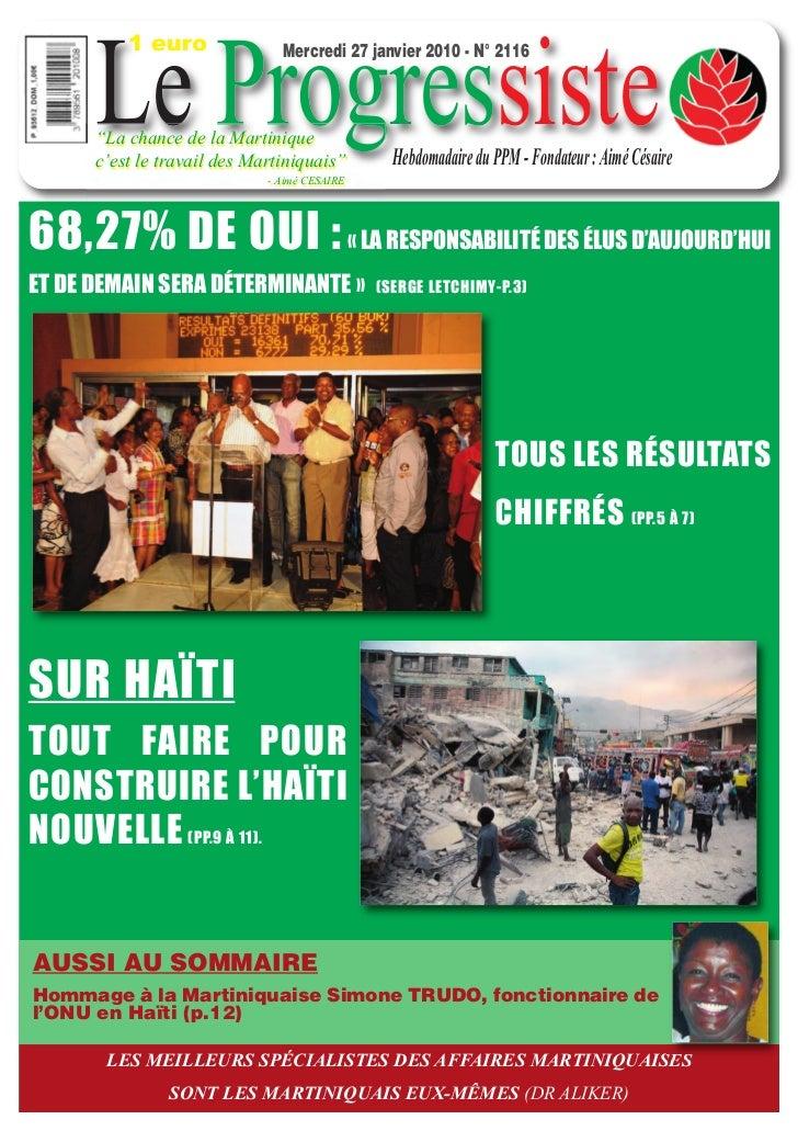 """1 euro      Le Progressiste                               Mercredi 27 janvier 2010 - N° 2116      """"La chance de la Martini..."""