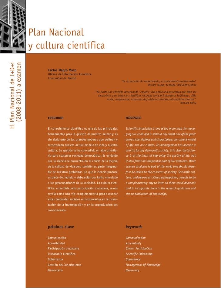 Plan Nacional                            y cultura científicaEl Plan Nacional de I+D+i   (2008-2011) a examen             ...