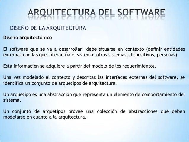 DISEÑO DE LA ARQUITECTURA Diseño arquitectónico El software que se va a desarrollar debe situarse en contexto (definir ent...